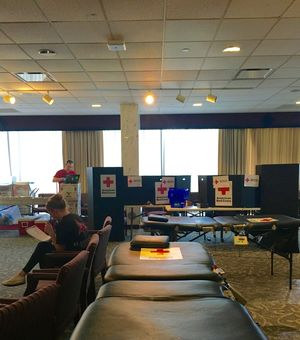 A dozen donation tables were set up around the Wilson Formal Lounge for the Red Cross Blood Drive. (Nicole Robinson, Staff Photographer)