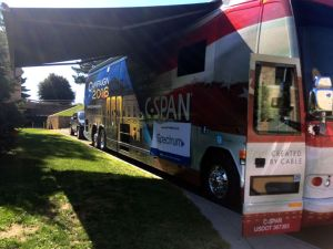 The C-SPAN bus was parked just off LeChase Commons near Kearney Hall during Involvement Fest on Sept. 20. (Photo by Morgan Andersen, Staff Photographer)