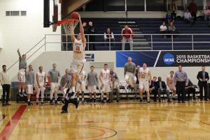 Jake Haight concludes the break-away with a slam. (Courtesy of Fisher Athletics)