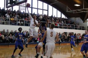 Fisher's Tyler English goes up for the lay-up. (Photo Courtesy of Fisher Athletics)